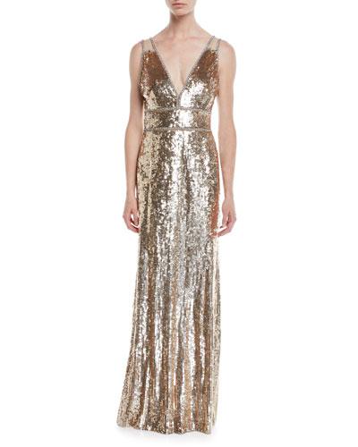 Deep V-Neck Sequin Gown
