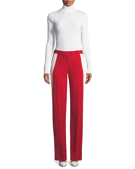 Michael Kors Collection Mid-Rise Double-Crepe Sable Straight-Leg Track Pants