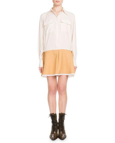 Long-Sleeve Button-Front Bicolor Lace-Hem Crepe de Chine Dress