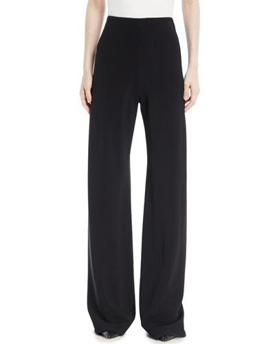 High-Waist Wide-Leg Stretch-Cady Trousers
