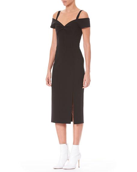 Carolina Herrera Off-the-Shoulder Wool Cocktail Dress