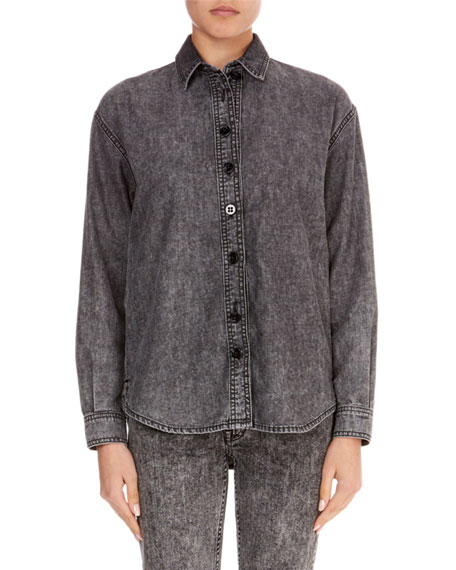 Long-Sleeve Button-Front Cotton Jean Shirt