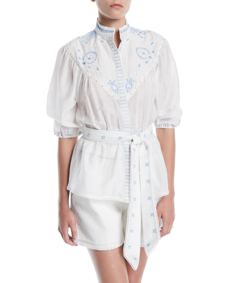 Talitha Collection Prairie Embroidered Stand-Collar Button-Front Tie-Waist Shirt