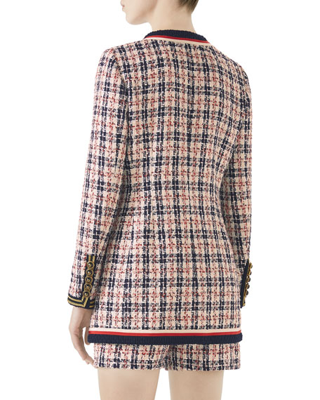 6-Button Single-Breasted Tweed Jacket with Sega® Embroidery