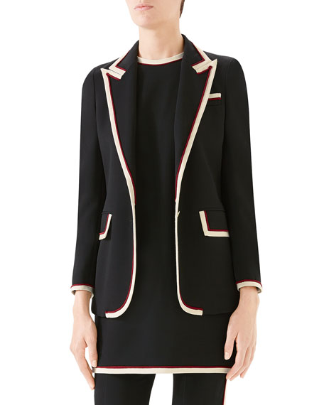 Gucci Peak-Lapel Two-Button Cady-Stretch Blazer and Matching