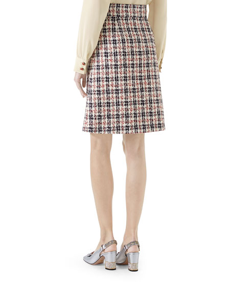 A-Line Tweed Knee-Length skirt with GG Hardware