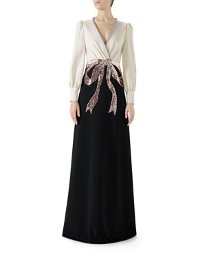 d2f781a59d Gucci Long-Sleeve Evening Gown w/ Bow Embroidery