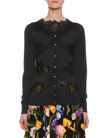 Dolce & Gabbana Button-Down Long-Sleeve Cardigan w/ Lace Inset