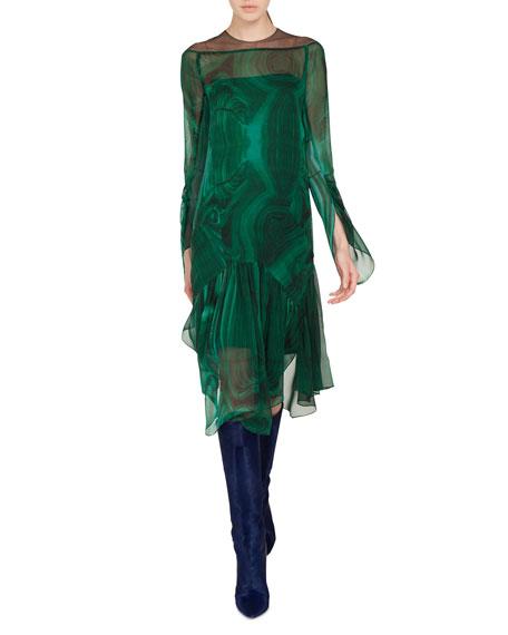 Draped-Sleeve A-Line Malachite-Print Silk Crepe Dress w/ Slits