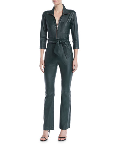 Emma Zip-Front 3/4-Sleeve Lamb Leather Straight-Leg Jumpsuit