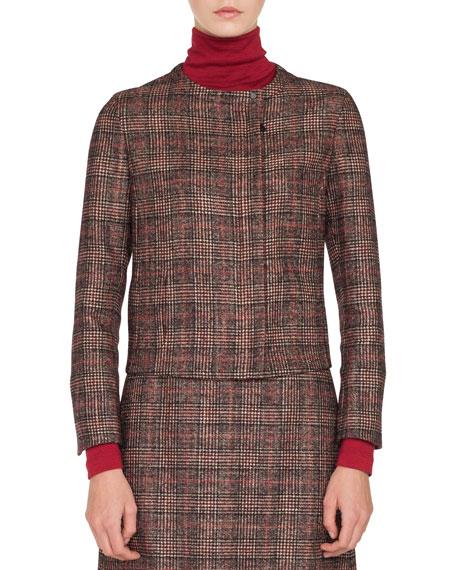 Stan Zip-Front Round-Neck Wool-Silk Plaid Jacket