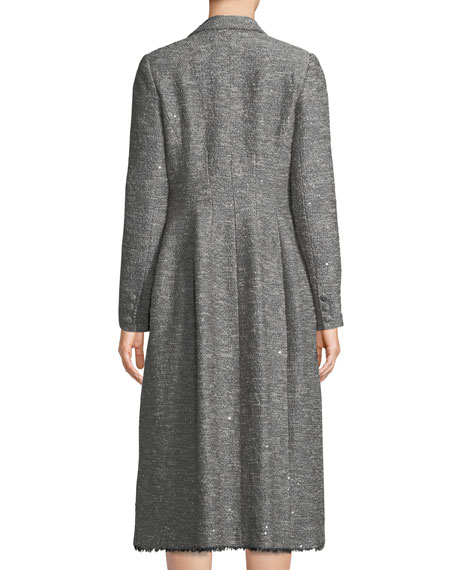 Lela Rose Double-Breasted Seamed Tweed Coat w/ Fringe Hem