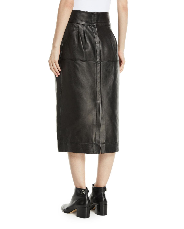 af3059398e Marc Jacobs High-Waist A-Line Midi Lamb Leather Skirt | Neiman Marcus