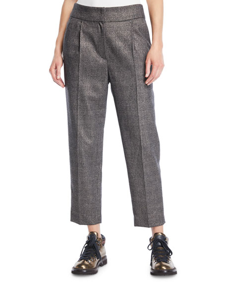 Metallic-Plaid Tapered Pants