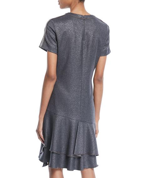 Crewneck Short-Sleeve Metallic-Wool A-Line Dress w/ Flounce Hem