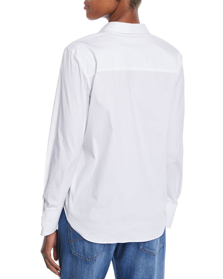 Button-Front Long-Sleeve Cotton Shirt w/ Monili Cuffs
