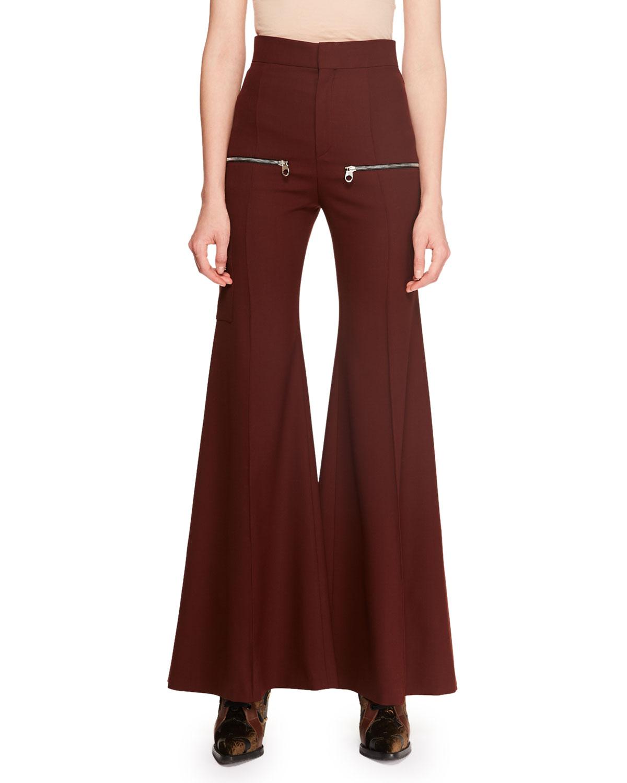 33b92f0eab Zip-Detail Stretch-Wool Flared Pants
