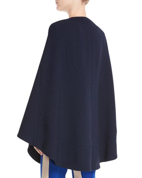 Jewel-Neck Seamed Short Cape Coat