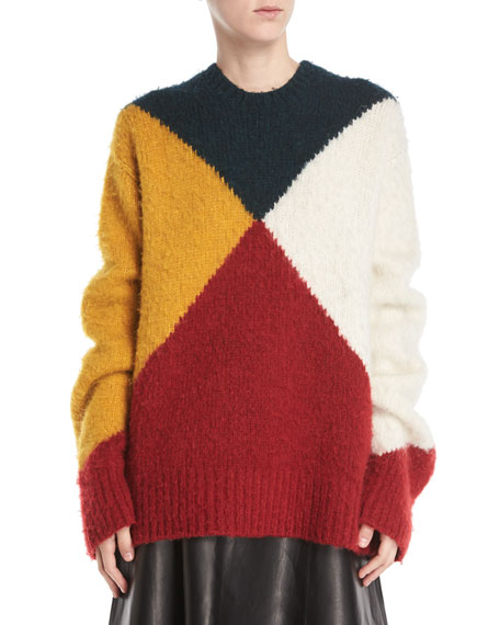 Crewneck Long-Sleeve Colorblock Brushed Alpaca Sweater