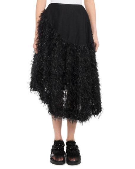 Organza Asymmetric-Hem Tulle Skirt