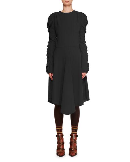 Chloe Ruffle Long-Sleeve Crepe A-Line Midi Dress