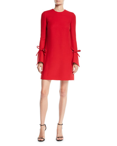 Jewel-Neck Vented Bow-Cuffs A-Line Crepe Wool-Silk Mini Day Dress