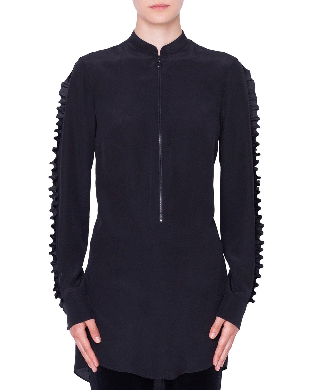 e5b4971ebe3959 Akris punto Ruffled Mock-Neck   Sleeves Front-Zip Silk Blouse ...