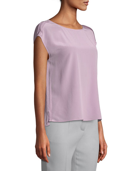 Cap-Sleeve Round-Neck Silk Blouse w/ Exposed Seams