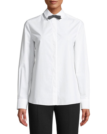Long-Sleeve Button-Front Cotton Shirt w/ Removable Bow Tie