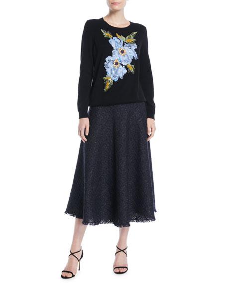 A-Line Metallic Tweed Midi Circle Skirt