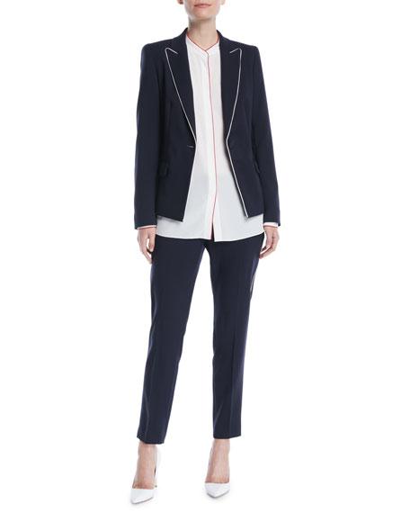 Slim Wool-Blend Cropped Pants w/ Piping