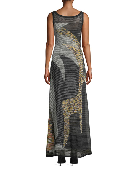Image 2 of 3: Missoni Scoop-Neck Sleeveless Animal-Intarsia Semisheer Mohair-Alpaca Long Dress