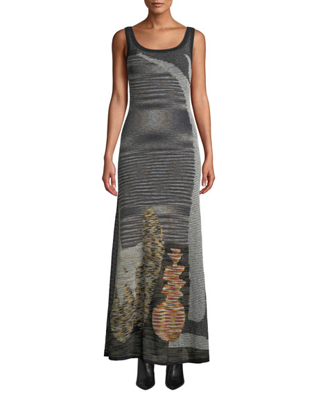 Image 1 of 3: Missoni Scoop-Neck Sleeveless Animal-Intarsia Semisheer Mohair-Alpaca Long Dress