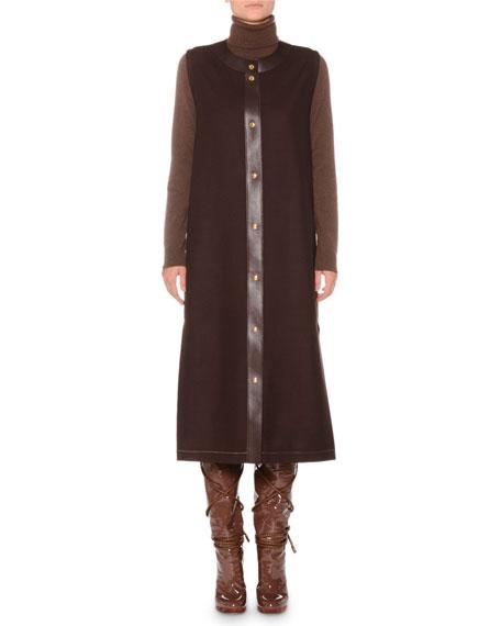 Agnona Round-Neck Leather Snap-Front Shetland Wool Vest