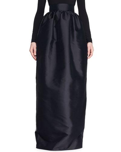 Ranel High-Waist Full Silk Duchess Evening Skirt