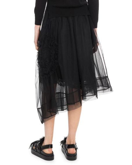 Asymmetric Hem Calf-Length Tulle Skirt w/ Flower Detail