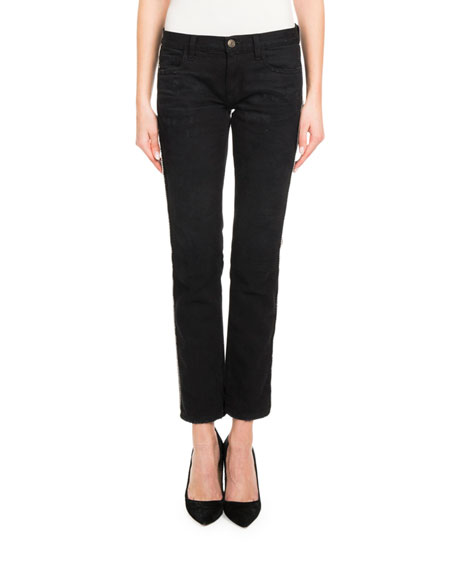 Redemption Crystal-Side Low-Rise Skinny Jeans