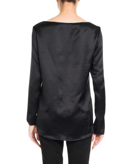 Boat-Neck Long-Sleeve Silk Satin Shirt