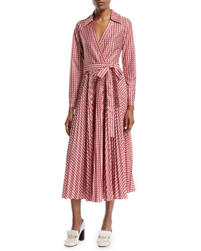 Long-Sleeve Allover V Logo Self-Belt Ankle-Length Wrap Dress