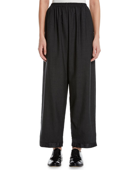 Eskandar Long Satin-Cuff Japanese Trousers
