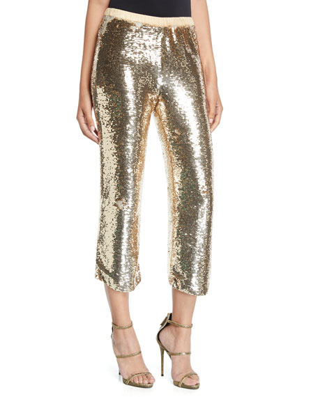Figue Verushka Golden-Sequin Crop Pants