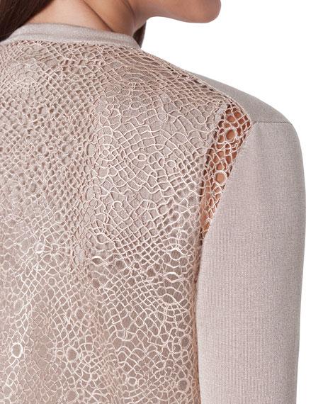 Akris Metallic Silk Embroidered-Back Cardigan