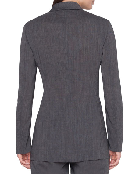 Image 2 of 3: Akris Long 2-Button Cool Wool Crepe Jacket