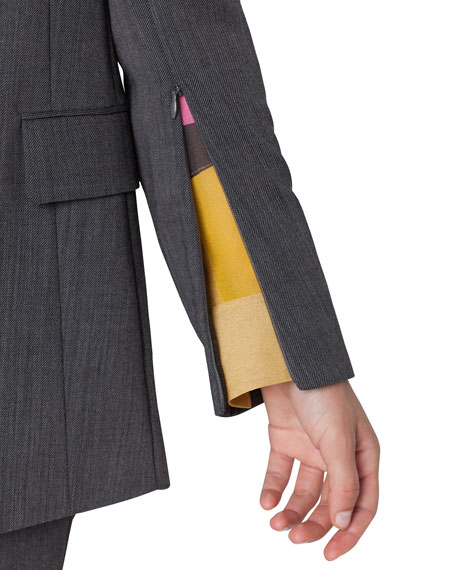 Image 3 of 3: Akris Long 2-Button Cool Wool Crepe Jacket