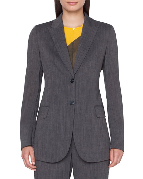 Image 1 of 3: Akris Long 2-Button Cool Wool Crepe Jacket