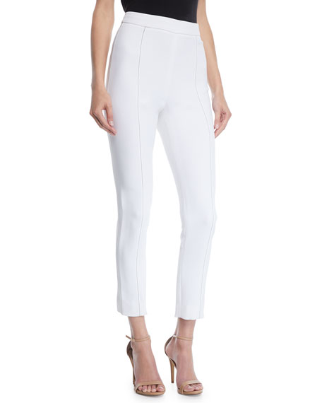 CUSHNIE High-Waist Stretch-Cady Cigarette Pants w/ Topstitching