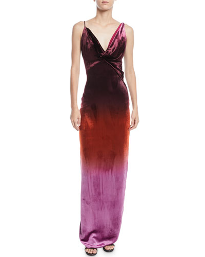Cowl-Neck Sleeveless Ombre Velvet Column Gown