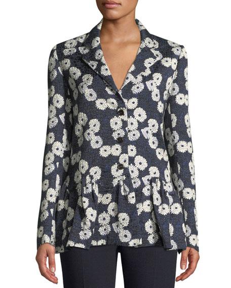 Lela Rose Wave Jacquard Flounce-Hem Jacket