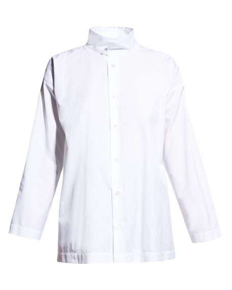Eskandar Two-Collar Button-Front Cotton Blouse