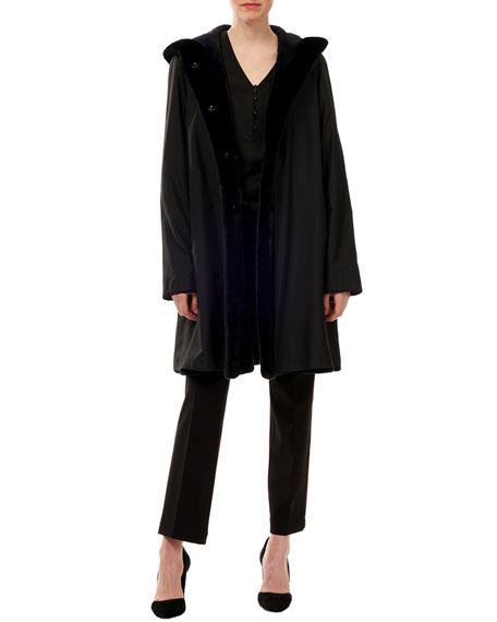 Gorski Sheared Mink-Fur Reversible Silk Taffeta Hooded Coat